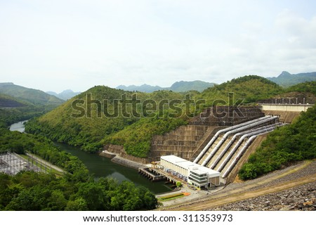 The power station at the Srinakarin Dam in Thailand - stock photo