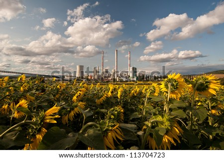 the power station with sunflower field - stock photo