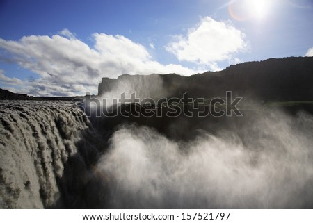 The powerful Dettifoss waterfall in Iceland - stock photo