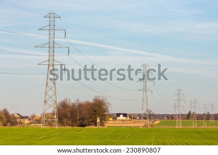 The powerlines on the green large field - stock photo
