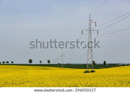 The powerlines on the yellow rape field - stock photo