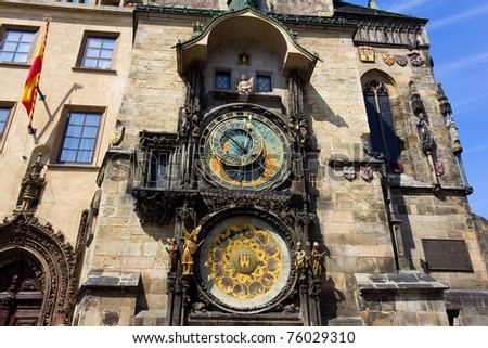 The Prague Astronomical Clock (Prague Orloj), a medieval astronomical clock located in Prague, the capital city of the Czech Republic. Installed in 1410, it's the only one still working in the world. - stock photo