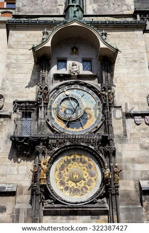 The Prague Astronomical Clock (Prague Orloj), medieval astronomical clock adorns the southern wall of Old Town City Hall in the Old Town Square, Prague, Czech Republic. - stock photo
