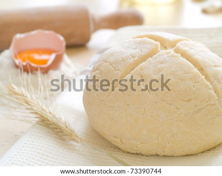 The preparations for making fresh homemade bread. - stock photo