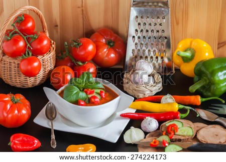 The preparations of delicious cold Gazpacho soup - stock photo
