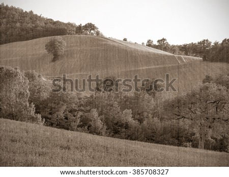 The present a provincial landscape of Tuscany, Italy, Europe. Old style, sepia - stock photo