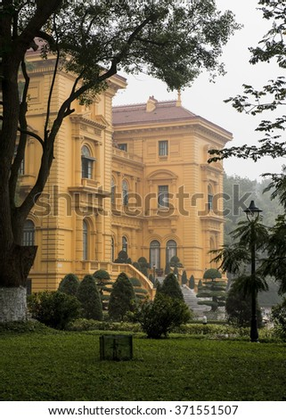 The Presidential Palace in the Ho Chi Minh Mausoleum complex.  It was the former home of the Governor General of Indochina and was not lived in by Ho Chi Minh but only used for state occasions. - stock photo