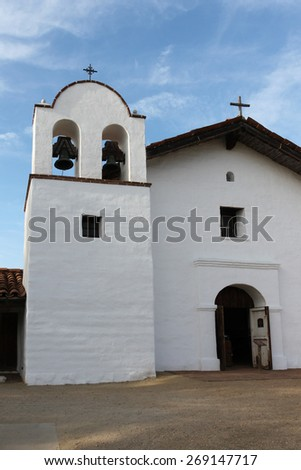 The Presidio Chapel at El Presidio de Santa Barbara State Park. - stock photo