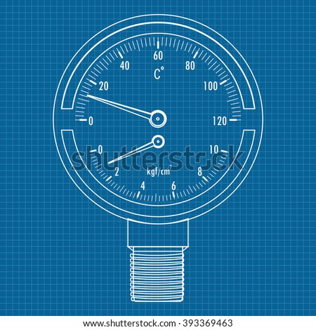 The pressure gauge and a thermometer. Icon. Blueprint Background.   illustration. Raster version - stock photo