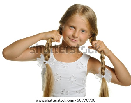 The pretty girl the blonde holding itself for braid. It is isolated on a white background - stock photo
