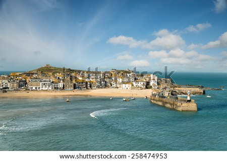 The pretty seaside town of St Ives in Cornwall - stock photo