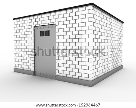 The prison of white bricks 3 - stock photo