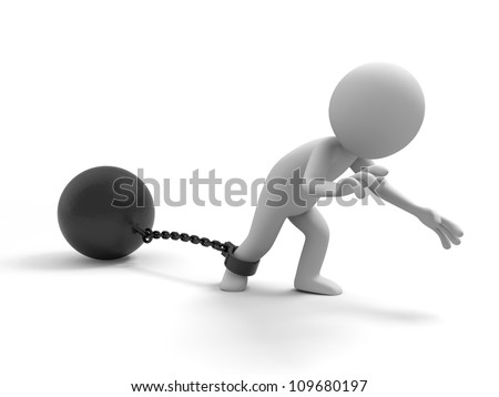 The prisoner/burden/ A people dragging a heavy metal ball - stock photo