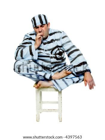 The prisoner smokes a cigarette. Can be last - stock photo