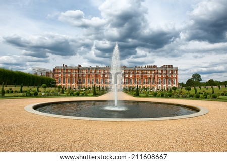 The Privy Garden with fountain and pond at Hampton Court Palace near London, UK - stock photo