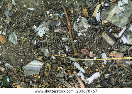 The problem of waste and pollution of the city - stock photo