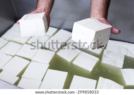 The process of producing tasty traditional white Bulgarian feta cheese at its final stage before packeting. Feta cheese cubes. - stock photo