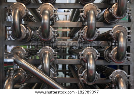 The production of pasteurized milk -  pasteurization equipment - stock photo