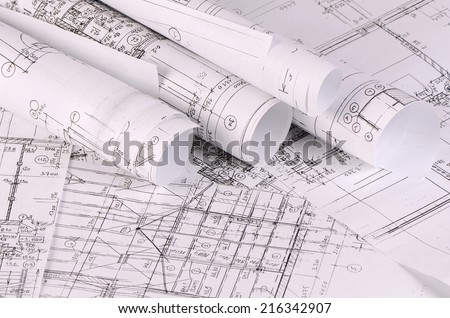The projects of houses as a background - stock photo