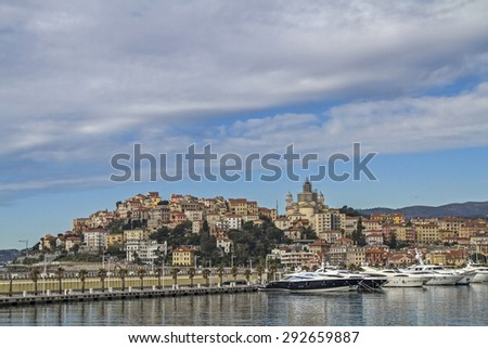 The provincial capital Imperia consists of the eastern Oneglia and the district of Porto Maurizio - stock photo