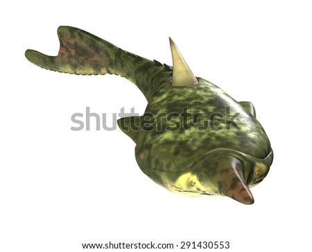 The Pteraspis was a prehistoric fish that lived during the Devonian Period - 3d render. - stock photo