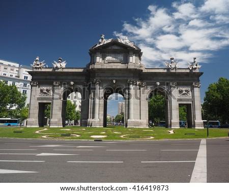 The Puerta de Alcala in Plaza de la Independencia in Madrid, Spain, Europe - stock photo