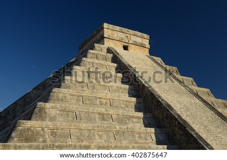 The pure architecture of Chichen Itza, Mexico.  - stock photo