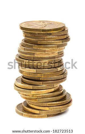 The put coins. Isolated on a white background. - stock photo