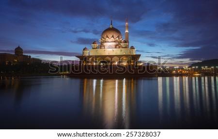The Putrajaya Mosque, Kuala Lumpur, Malaysia. - stock photo