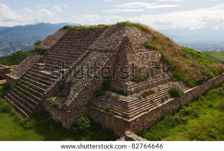 The pyramid and the ruins of  of Monte Alban - Oaxaca, Mexico - stock photo