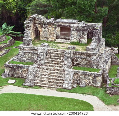 The pyramid in the ancient town of Palenque - Mexico - stock photo