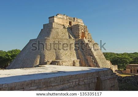 The pyramid in Uxmal Mayan city, Yucatan, Mexico - stock photo