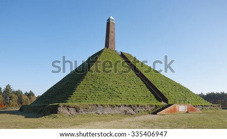 The Pyramid of Austerlitz with obelisk from the year 1804. This was erected in honor of Napoleon Bonaparte. Located near the village Woudenberg, province of Utrecht, the Netherlands - stock photo