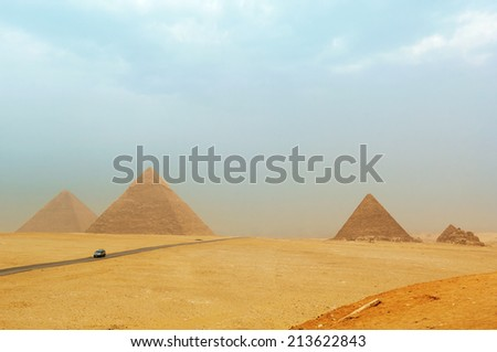The pyramids at Giza in Egypt - stock photo