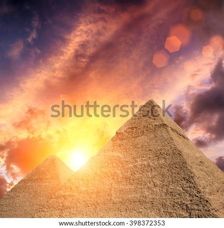 The Pyramids in Egypt, Giza - stock photo