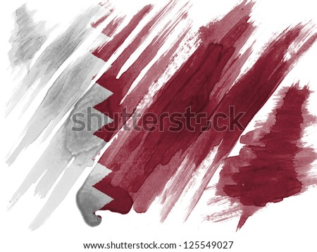 The Qatari flag painted with watercolor on paper - stock photo