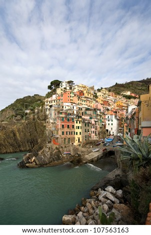 The quaint, picturesque fishing village of Riomaggiore, Cinque Terre, Italy - stock photo
