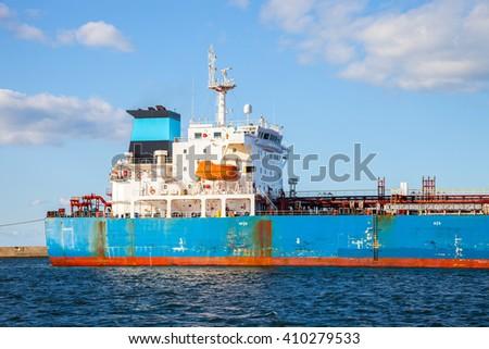 The quarterdeck of a cargo ship at sea. - stock photo