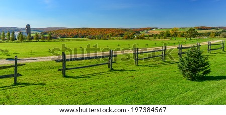 The Quebec's Bois Francs countryside area in the fall - stock photo