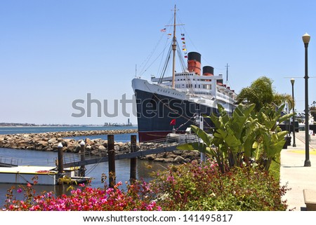 The Queen Mary ship moored in Long Beach California. - stock photo