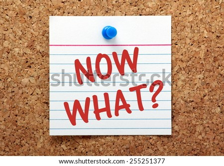 The question Now What? written on a note card and pinned to a cork notice board - stock photo