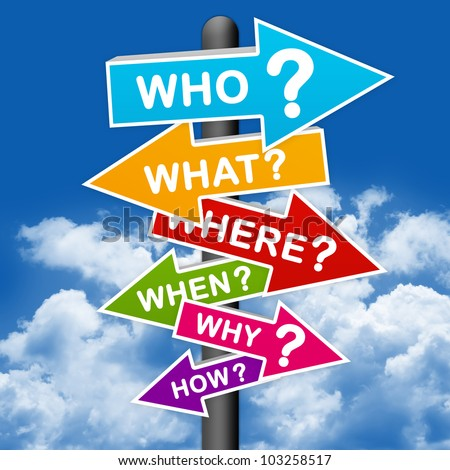 The Question Sign With Blue Sky background - stock photo