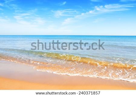 the quiet beach - stock photo