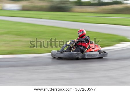 The racer on carting. Races on cartings. Cars races.  - stock photo