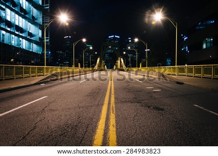 The Rachel Carson Bridge at night, in Pittsburgh, Pennsylvania. - stock photo