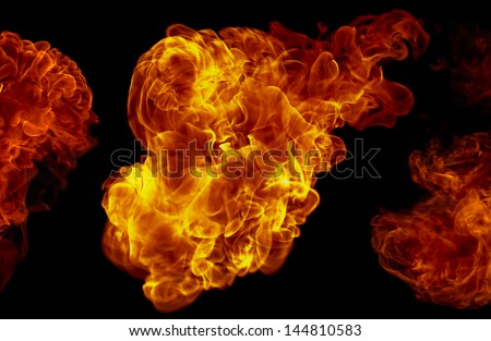 The rapid oxidation. The flare is the visible portion of the fire. - stock photo