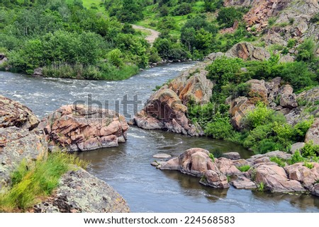 The rapids on a small river in Ukraine - stock photo