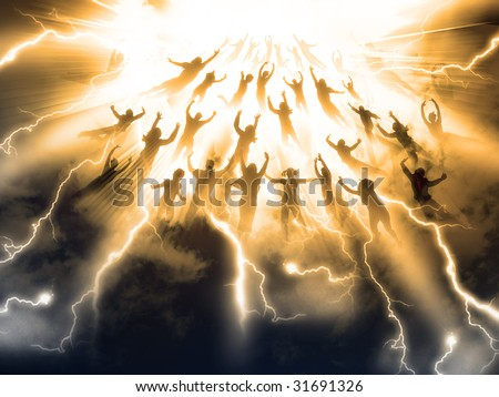 The Rapture of People out of the world - stock photo