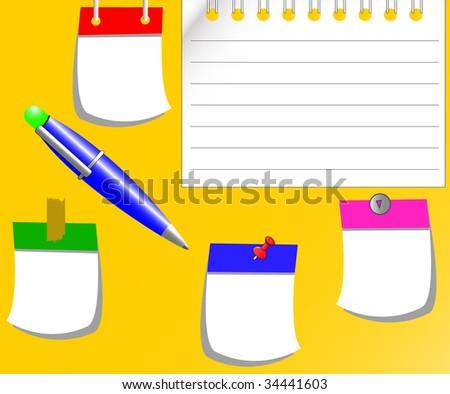 the raster cartoon stickers and pen set (vector version in portfolio) - stock photo
