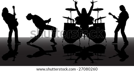 the raster musicans silhouettes set - stock photo